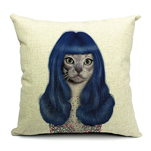 TheOne/4038 Cotton Linen Throw Pillow Case Square Decorative Cushion Cover Cat Star Katy Perry 18in X - Cat Katy Perrys