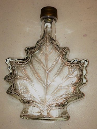 - 12 Pack of Glass Maple Syrup Jars with Tamper Evident Caps, 250ml Maple Leaf Design