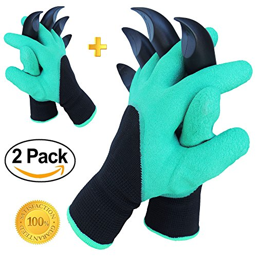 Wolverine Gloves With Claws (Garden Genie Gloves by Crocoin 2 pack with Fingertips Claws on each Hand, for Digging and Planting, for Right-handers & Left-handers, for Women & Men)