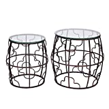 Cheap Adeco Classic Nesting Side Table Set (2 Pcs)-Black, Black