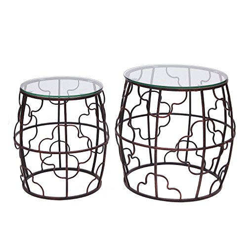Adeco Classic Nesting Side Table Set (2 Pcs)-Black, Black ()
