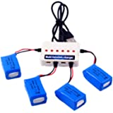 YouCute 4pcs 3.7V 600mAh official Battery and 1to6 charger for syma X9 flying car RC quadcopter drone spare parts