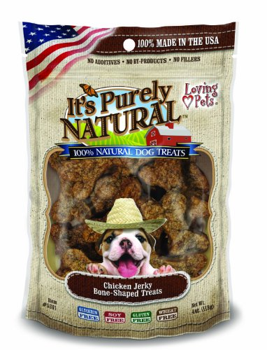 - Loving Pets Products It'S Purely Natural Chicken Jerky Bone-Shaped Dog Treat, 4-Ounce
