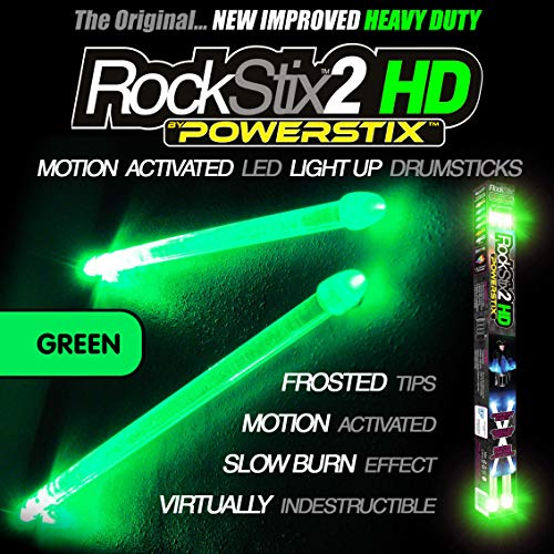 (ROCKSTIX 2 HD GREEN, BRIGHT LED LIGHT UP DRUMSTICKS, with fade effect, Set your gig on fire! (GREEN ROCKSTIX))