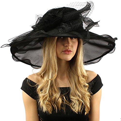 """Dramatic Big Flower Netting Derby Floppy Organza Wide Brim 7"""" Dress Hat"""