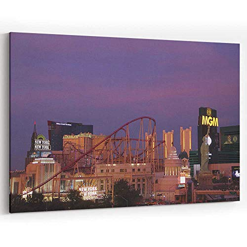 Actorstion Las Vegas Casinos MGM New York Sunset Canvas Art Wall Dcor for Modern Home Decor
