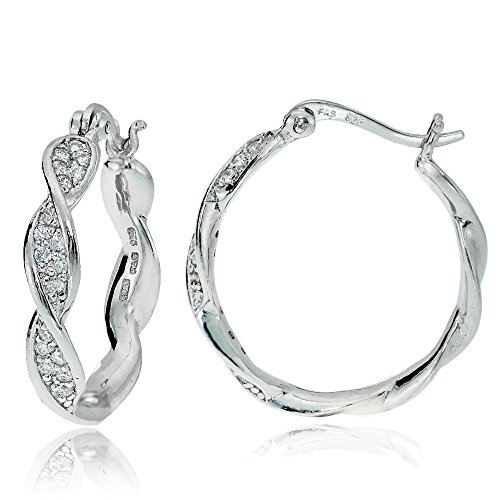 (Sterling Silver Cubic Zirconia 24mm Twist Round Hoop Earrings)