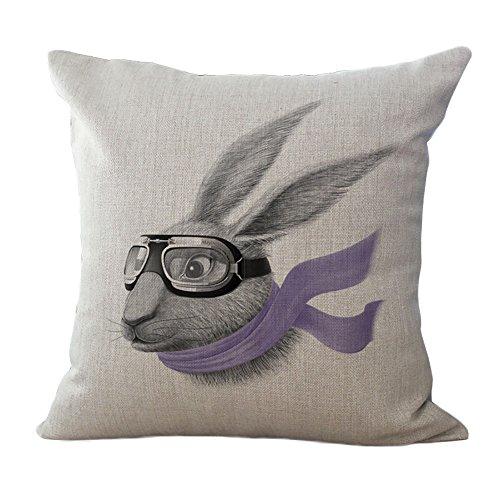 ChezMax Fashion Rabbit Pattern Cushion Cartoon Linen Square Decorative Throw Pillow 18 X 18''
