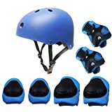 Kids Sports Knees Elbows Wrists Head Support Protection Helmet Set for Unisex Toddler Children Extreme Sports Youth Roller Bicycle BMX Bike Skateboard Protector Guards Pads -7 Pcs(Blue)