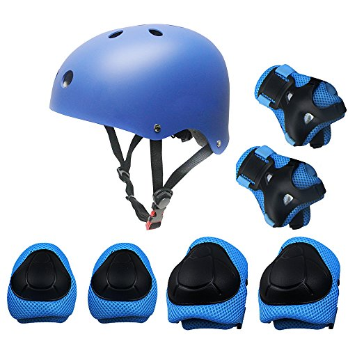 Kids Sports Knees Elbows Wrists Head Support Protection Helmet Set for Unisex Toddler Children Extreme Sports Youth Roller Bicycle BMX Bike Skateboard Protector Guards Pads -7 Pcs(Blue) by KUYOU