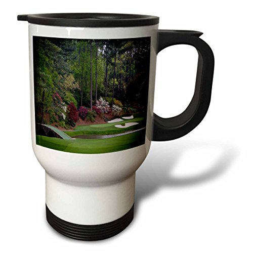 3dRose Augusta's Amen Corner Golf Course-Golfers on Bridge Travel Mug, (Augusta Golf Course)