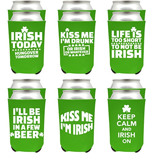 Shop4Ever St. Patrick's Day Can Coolie Irish Day Beer Drinker Shamrock Can Coolie Sayings Drink Coolers Coolies (Green, -