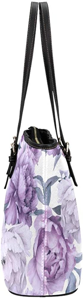 Tote For Women Purple Retro Spring Romantic Dahlia Leather Hand Totes Bag Causal Handbags Zipped Shoulder Organizer For Lady Girls Womens Handbags For Kids