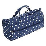 Hobby Gift Polka Dot Design Knitting Bag White Spots on Navy (15 x 42 x 17.5cm)