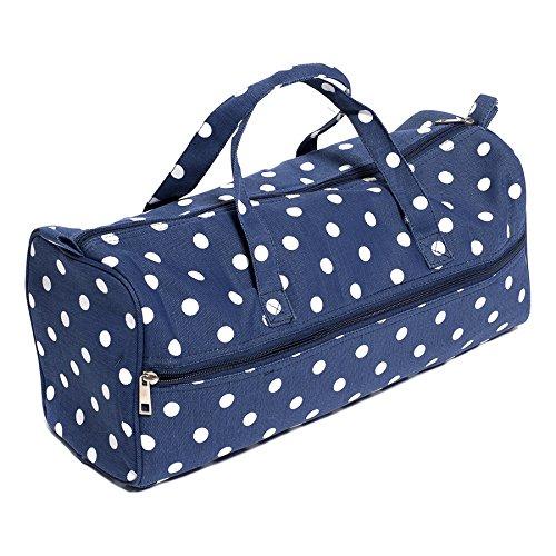 Hobby Gift Polka Dot Design Knitting Bag White Spots on Navy (15 x 42 x 17.5cm) by Hobby Gift