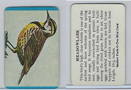 F279-3 Quaker, Pack-O-Ten Bird Cards, 1957, Meadowlark, used for sale  Delivered anywhere in USA