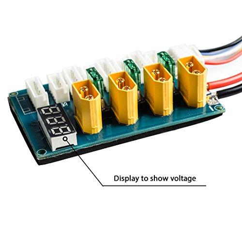 Wolfwhoop XT60 Plug 3-4S LiPo Battery Parallel Balance Charging Board Voltage LED Display/Banana Plug Input