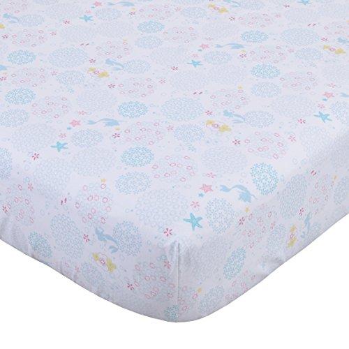 Disney Ariel Sea Princess Crib Sheet, White/Blue/Pink/Gold