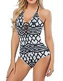 Mitario Femiego Women One Piece Swimsuit V Neck Bathing Suit Open Back Bikini Swimwear White L