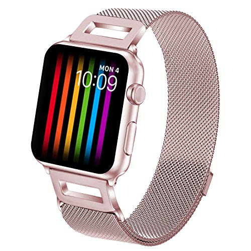 Amzelas Compatible Bands Replacement Apple Watch Series 4 3 2 1 38mm 40mm 42mm 44mm, Milanese Sport Straps Drill iWatch Wristbands All Models