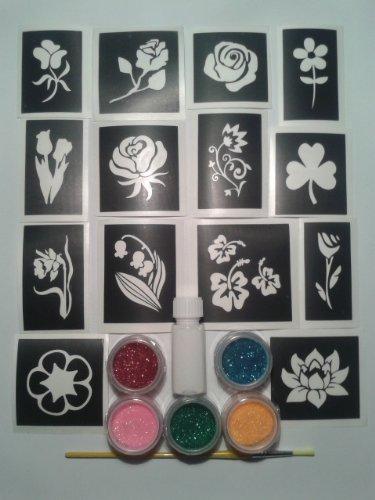 Flower glitter tattoo set including 30 stencils + 5 glitter colors + glue tulip daffodil rose daisy clover bluebell