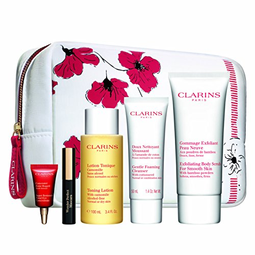 Clarins Gift Pouch & Travel Set - Exfoliating Body Scrub, Toning Lotion, Gentle Foaming Cleanser, Super Restorative Total Eye Concentrate and Mini Wonder Perfect Mascara & Pouch