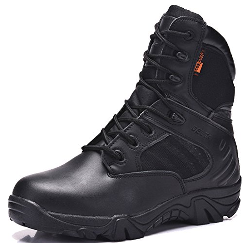 mens black boots with side zipper - 9