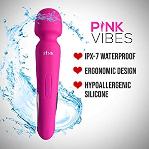 Pink High Quality Wand Massager - Handheld Magic With 8 Speed & 20 Vibration Modes - Curved & Bendable Body Massager for A Full Body Massage - Perfect for Muscle Aches and Personal Sport Recovery