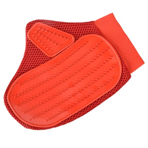 Pet Grooming Glove - SODIAL(R) Grooming Glove for Dog&Cat,Two-sided Massage Gloves Pet,Hair Remover from Furniture or Bed,Soft Rubber Gentle Groomer and Your Pet Will Love Grooming,Red