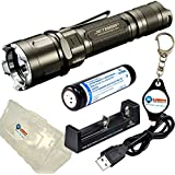 BUNDLE: JETBeam JET 3M PRO CREE XP-L 1100 Lumens LED Flashlight w/ 1x Xtar 18650 2600mAh rechargeable battery, 1x Xtar MC1 Charger, 1x Xtar Battery Case and 1x Lightjunction Keychain light