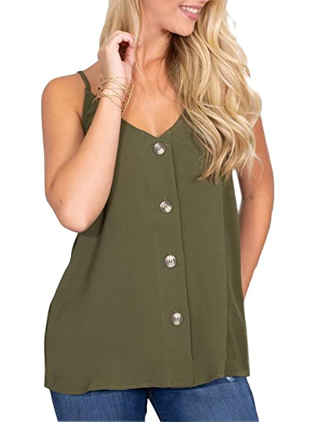18074759d699bf Dellytop Women s Button Down V Neck Strappy Tank Tops Loose Casual  Sleeveless Shirts Blouses Army Green