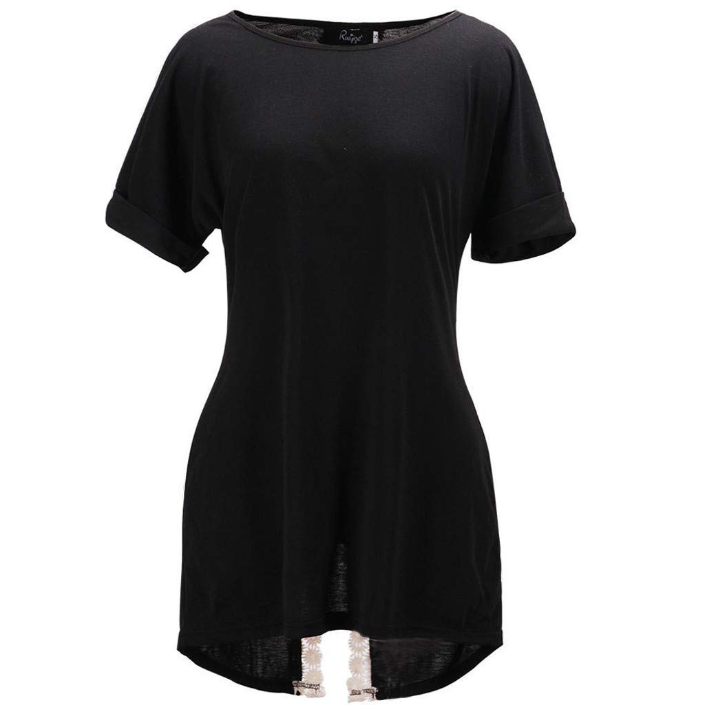 Tantisy ♣↭♣ Tops for Women ◈ Fashion Ladies Back Lace Patchwork Open Neck Top Casual Wild Solid Short Sleeve Blouse Black