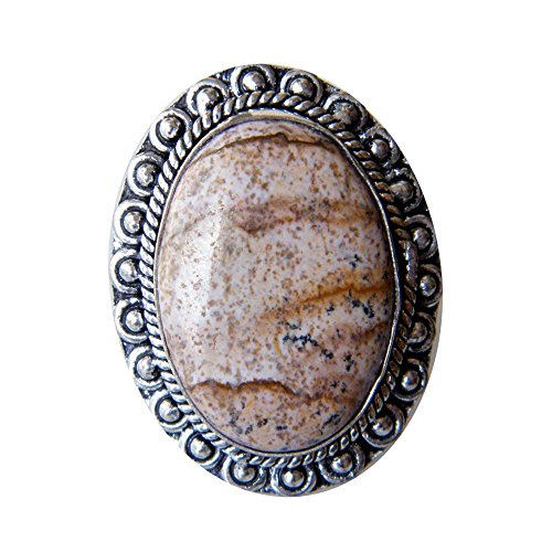 Picture Jasper Ring Silver Plated Ring Handmade Designer Ring Jewelry, Adjustable Ring (Ring Size 7.5 USA) AH-6864