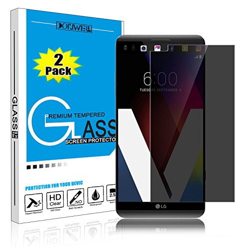 [2 Pack] LG V20 Screen Protector, DONWELL Shield Privacy Anti-Spy Tempered Glass Screen Protector for LG V20