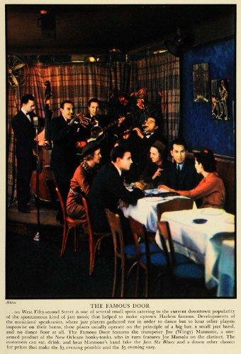 1936 Print Famous Door Jazz Harlem Joe Mannone Music Marsala Dinner New York Art - Original Color - Music Ban