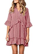 onlypuff Ruffle Polka Dot Dresses for Women Swing Tunic Tops Casual Loose Fitting V Neck Sleeveless & Half Sleeve
