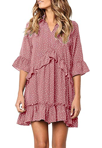 onlypuff Pink Ruffle Dress Ladies Swing Polka Dot V Neck Tunic Shirt 3/4 Sleeve Loose Fit -