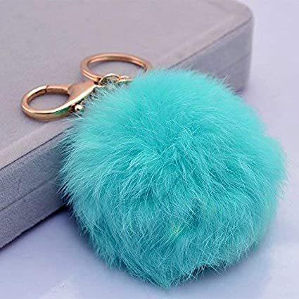 ace08248ebe6 Image Unavailable. Image not available for. Color  Miraclekoo Rabbit Fur  Ball Pom Pom Key Chain ...