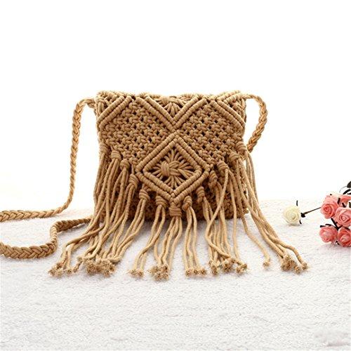 Bolsos Hechos A Mano De La Playa De Bali Mujeres Bohemia Bolsos De Hombro De La Rota del Borla del Verano Ahueca hacia Fuera Los Bolsos De La Paja Flap Ks11 Brown Brown