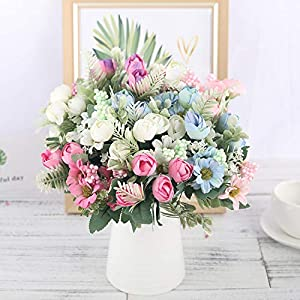 GSD2FF Artificial Silk Flowers Bouquet 12 Heads Fake Flowers Daisy Bud Decoration for Wedding Home Foam Accessories 24