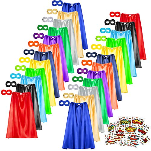 Superhero Capes and Masks Set, 24 Sets Bulk Pack Dress Up Costume for Kids Party, DIY Super Hero Capes with Superhero Stickers (24 Capes and 24