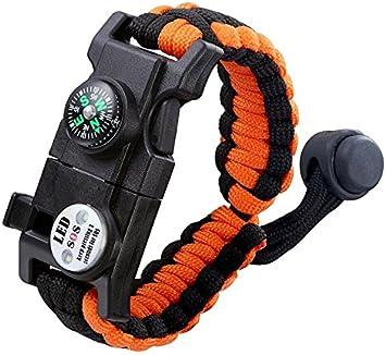 Pulsera de supervivencia Chirisen, 20 en 1, pulsera de supervivencia de paracaídas, kit de supervivencia con luz LED SOS, cuchillo de emergencia, ...