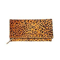 dfd6a80ec125 Leopard Print Haircalf Fold over Clutch, Evening Handbag, One Size, Women's.