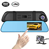 SENDOW Dual Lens Dash Camera 1080P 4.5 Inch Touch Screen, in Mirror Rearview Dash Cam Vehicle Backup Camera Car Recorder with Loop Recording G-Sensor Parking Mode