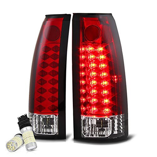 (VIPMOTOZ Premium LED Tail Light Lamp For 1988-1999 Chevy GMC C/K 1500 2500 3500 Pickup - Full SMD LED Backup Bulbs, Rosso Red Lens, Driver & Passenger Side)