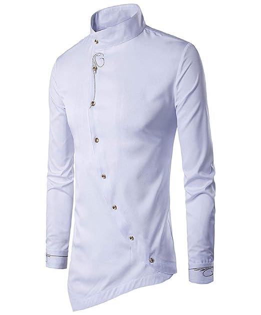 Camisas de Vestir Camisas para Hombres Manga Larga Botón de Color ...