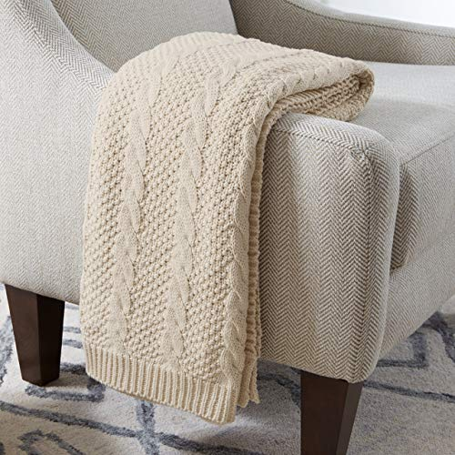 Stone & Beam Transitional Chunky Cable Knit Throw - 100% Cotton - Ivory (Cable Chunky Knit)