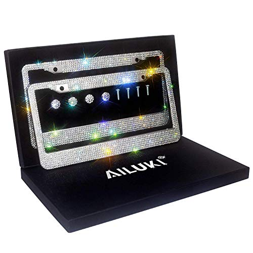 AILUKI Bling License Plate Frame, 2 Pack Black Crystal License Plate Frames with 2 Holes Bonus Screw Caps,Car License Plate Covers for US Vehicles/Truck ()