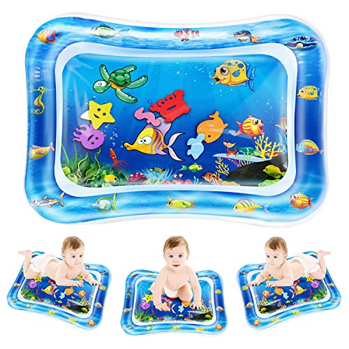 - QPAU Tummy Time Water Play Mat, Larger 28'' Tummy Time Inflatable Water Mat, Indoor Climbers and Play Activity Center for Baby Toys 0 3 6 12 Months