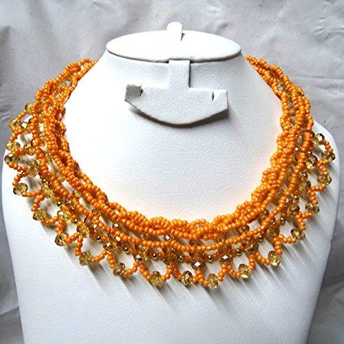 Prestigeapplause Orange Cristal trésor Doré Collier Boucles d'oreilles de soirée pour ensemble